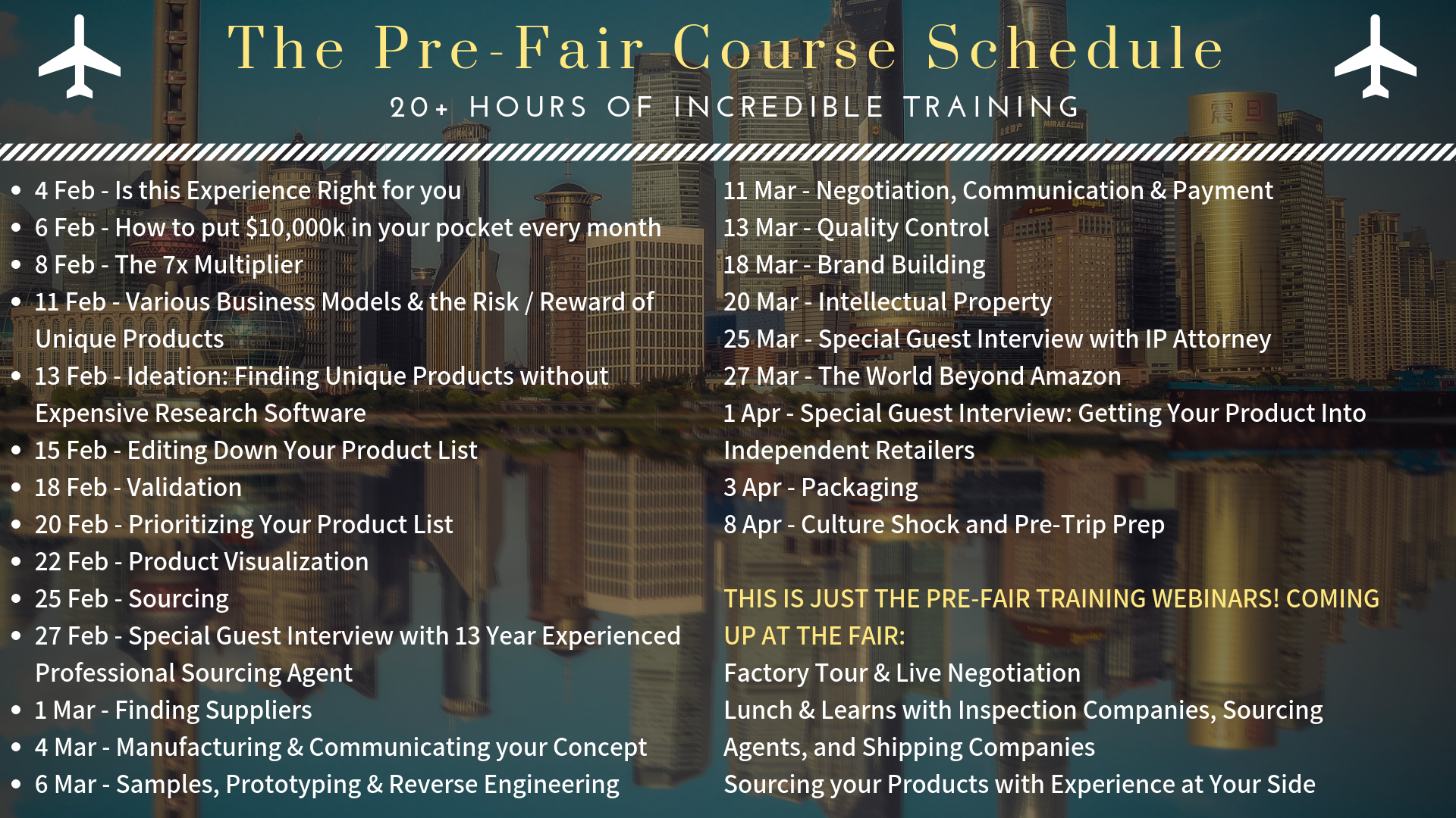 Canton Fair Experience Course Schedule