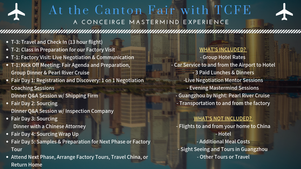 Courses offered at the Canton Fair during the phases