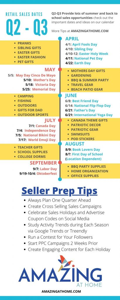 Q2-Q3 Retail Sales Calendar for E-Commerce Infographic