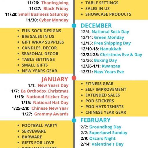 Q4 - Q1 Retail Sales Calendar Infographic
